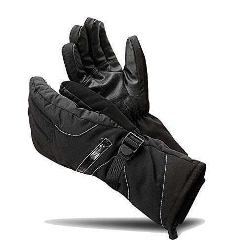 E-Onfoot Waterproof Ski Gloves and Windproof Membrane Extreme Cold Weather Winter Ski Mitten or Glove (Black-XLarge)
