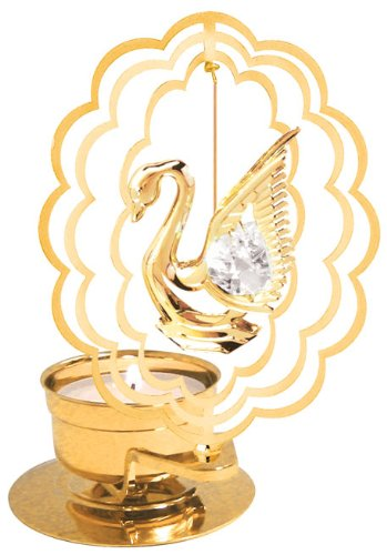 - Swan in Scallop Oval Tea-Light..... With Clear Swarovski Austrian Crystal