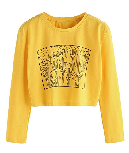 - SweatyRocks Women's Floral Embroidered Casual Short Sleeve Crop Top T-Shirt (X-Large, Yellow#4)