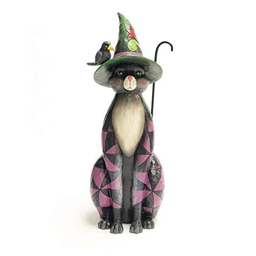 Enesco Jim Shore Heartwood Creek Black Cat Witch Statue