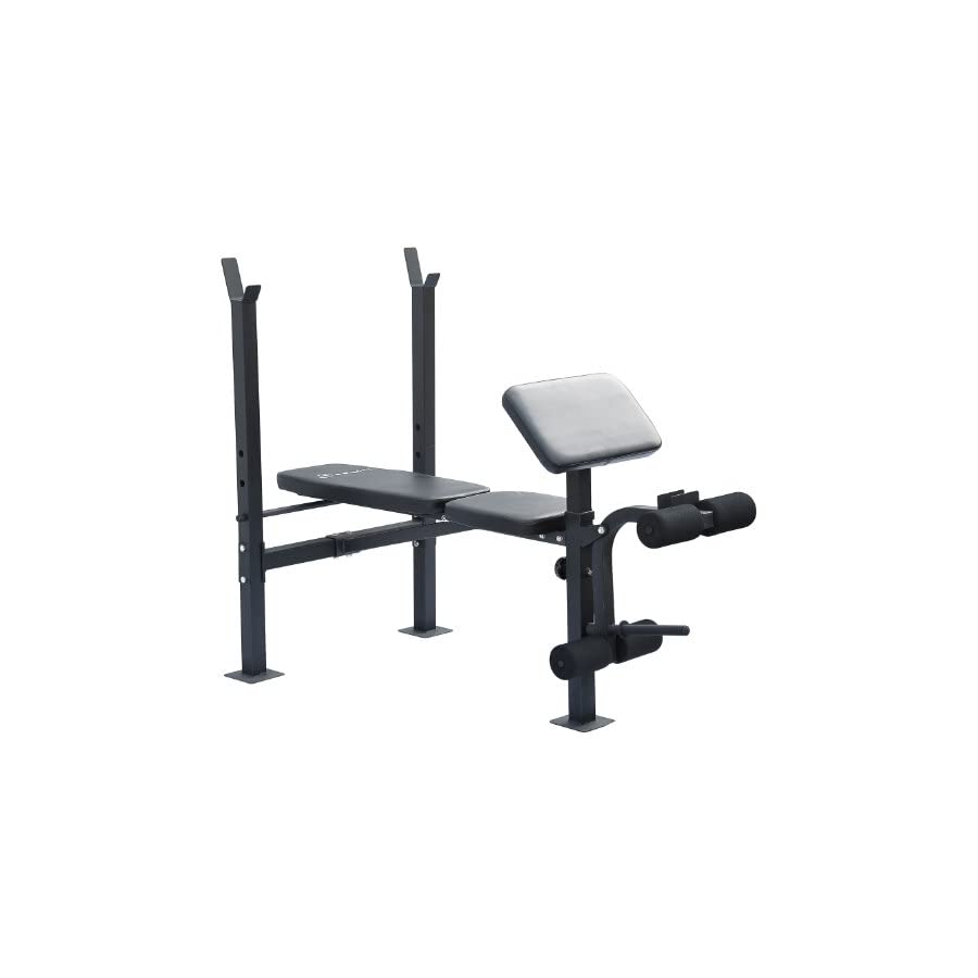 Soozier Incline/Flat Exercise Free Weight Bench w/Curl Bar/Leg Extension