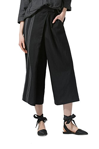 Linen Viscose Wide Leg Pant - YOU.U Women Casual Wide-leg Pants , Stripe on One Side, Pull-on Elastic Waist, Linen Blended, Slant Pockets - Black L
