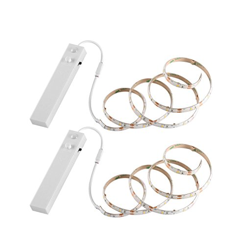 YOUKOYI Battery Powered LED Strip Lights Flexible Motion Sensor Closet Light for Cabinet/Cupord/Stairs, 4000k- 2 Pack]()
