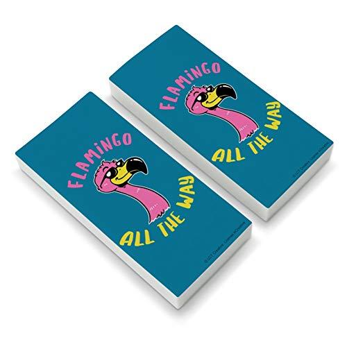 Flamingo All The Way Funny Humor Eraser Set of 2