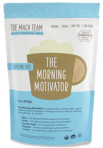 Maca Coffee - The Morning Motivator - Great Tasting, Caffeine Free, Organic Superfood Blend - 1 lb - 50 Servings