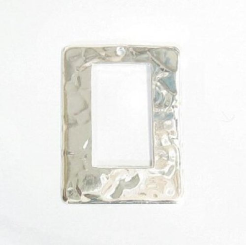 1 pc .925 Sterling Silver Rectangle Hammered Ring Connector / Charm / Pendant 23mm / Findings / Bright