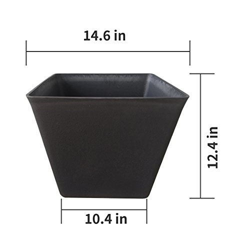 Large Planter 14.6'' Resin Flower Pot Set 2, Indoor Outdoor Garden Patio Planters, Black, Unbreakable by LA JOLIE MUSE (Image #3)