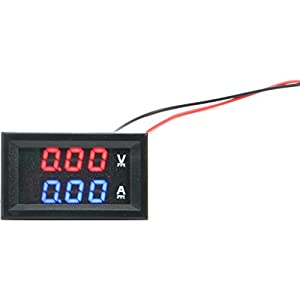 vanki 1 pc 0.28''LED DC0-100V 10A Digital voltmeter Ammeter 2in1 Multimeter 12V/24V Voltage Amperage Meter Volt Amp Gauge Panel with Red/Blue Dual Color Display