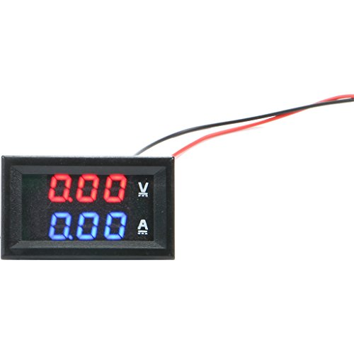 Amperes Panel - vanki 1 pc 0.28''LED DC0-100V 10A Digital voltmeter Ammeter 2in1 Multimeter 12V/24V Voltage Amperage Meter Volt Amp Gauge Panel with Red/Blue Dual Color Display