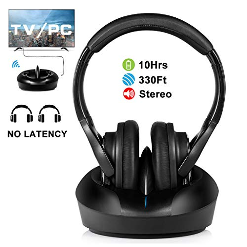 Wireless TV Headphones Over Ear Headsets-RF Transmitter Charging Dock, Hi-Fi Stereo Cordless Headphones for TV, Adjustable Lightweight Rechargeable 10Hrs Battery for Hard of Hearing, 330ft (Black)