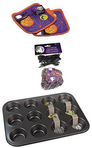 Halloween Decorations, Cupcakes Kit Includes Cupcake Pan, Cupcake Liners, Cupcake Picks and 2 Potholders