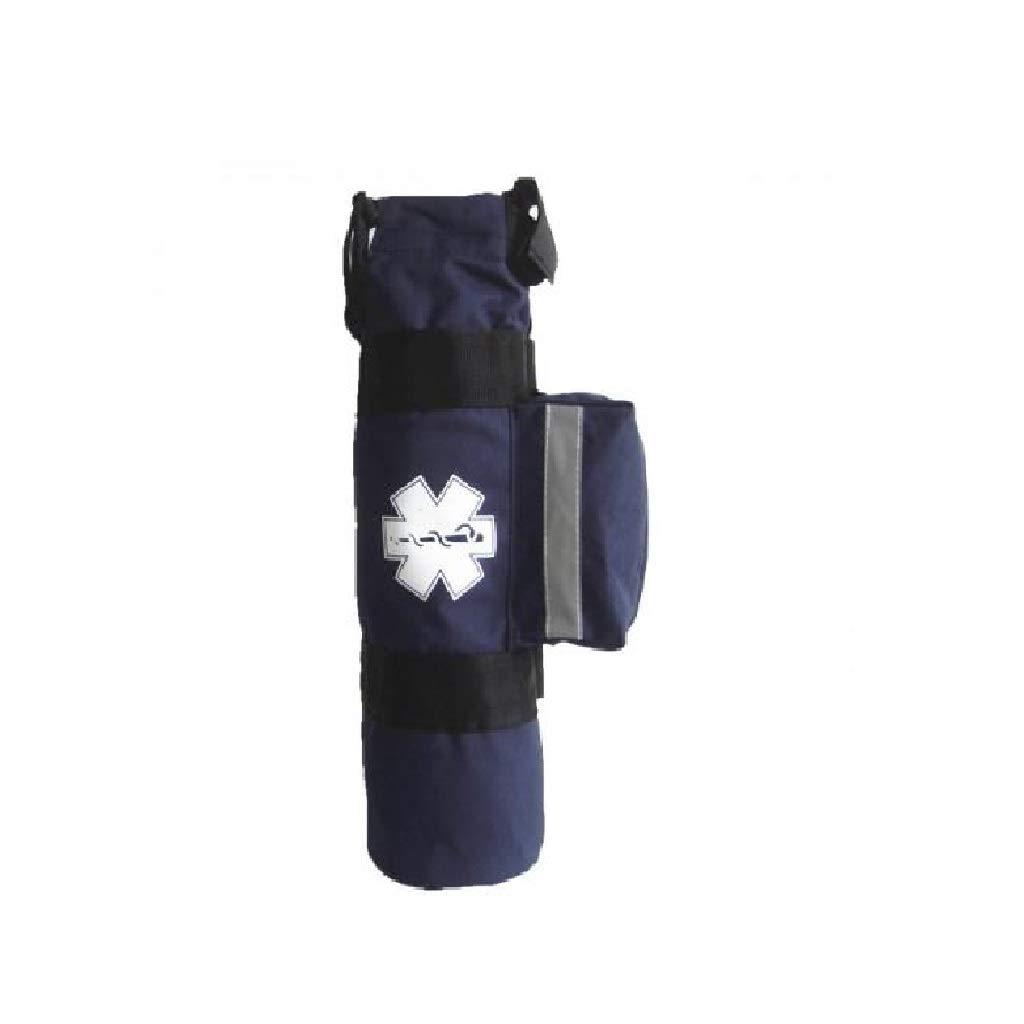 Side Pockets and Two Adjustable Side Straps LINE2design Oxygen Cylinder Sleeve Bag Navy EMS Emergency Medical Portable Travel Size Cylinder Bag with Star of Life Logo
