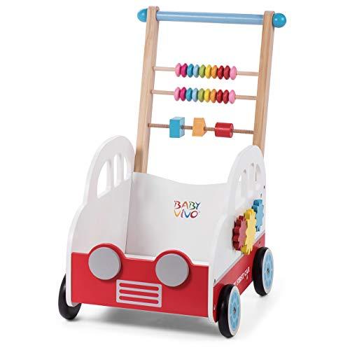 Baby Vivo Andador para Bebé Carrito de Primer Andador Correpasillo Educativo Actividad Juguete de Madera - Henry