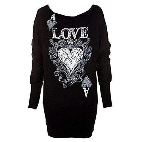 """Fashion Essentials-Frauen """"Love Lace Heart"""" Glitter-Druck-Kleid-Flügel-Top"""