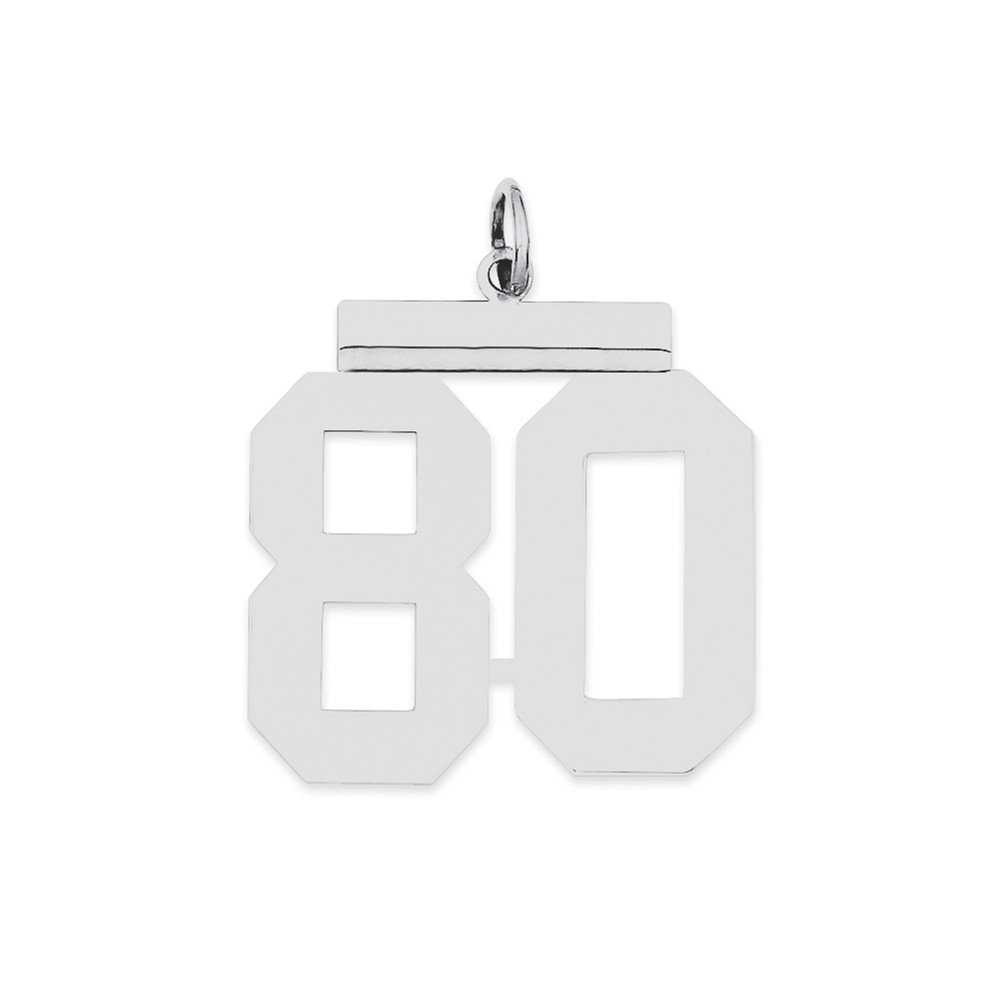 Sterling Silver Large Polished Number 80 Charm