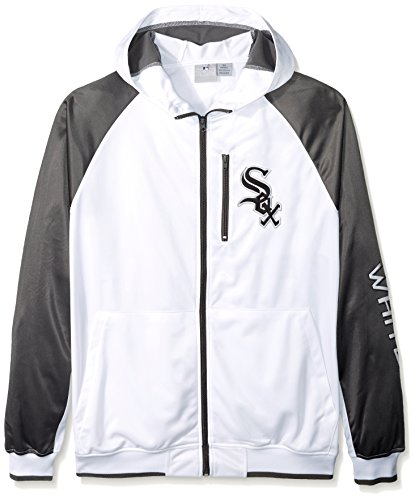 MLB Chicago White Sox Men's Full Zip Tricot Logo Sleeve Track Jacket with Wordmark, 3X/Tall, - Jacket Chicago Sox White Track