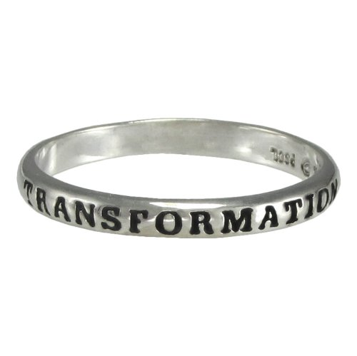 "Sterling Silver ""In Transformation"" Spiritual Inspirational Ring (Sizes 4 15)"