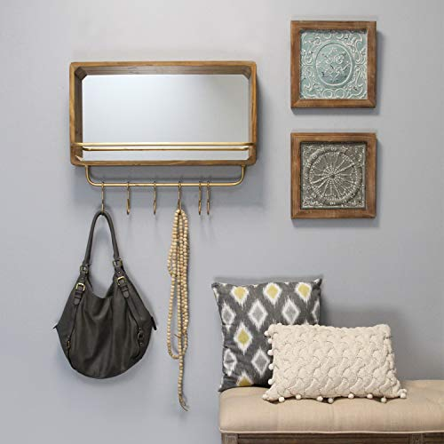 Mirror Pub (Stratton Home Décor Stratton Home Decor Madison Shelf & Hooks Mirror 25.50 W X 5.50 D X 21.25 H Natural Wood, Gold)