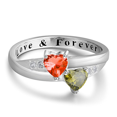 Date Engraved Ring - 2 Simulated Birthstones Promise Rings for Her Love Forever Engraved Choose Your Color Engagement Rings (Jul-Aug, 7)