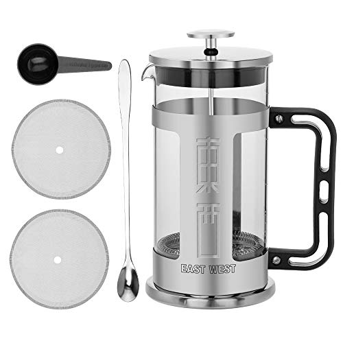 East West Chrome French Press Coffee Maker & Tea Maker - 34 OZ, 1L/8Cups With Heat Resistant Borosilicate Glass, 304 Stainless Steel, Large Comfortable Handle, Dishwasher Safe & 100% BPA ()