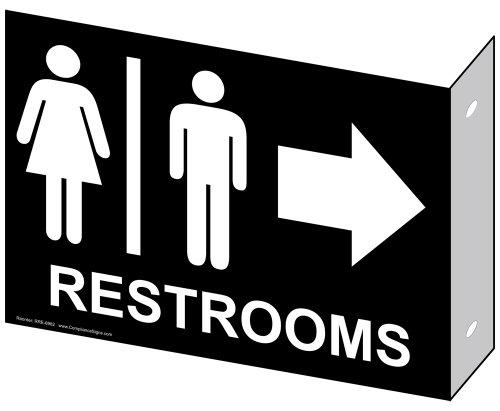 ComplianceSigns Aluminum Restroom - Public / Private sign, 9 x 7 inch Black