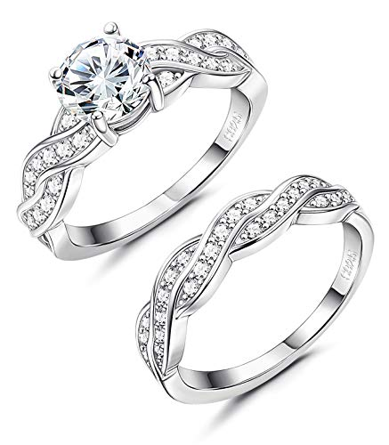 Milacolato 925 Sterling Silver Cubic Zirconia CZ 2pc Wedding Band Stackable Ring Set
