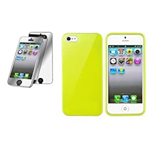 Quaroth CommonByte For iPhone 5 Yellow Jelly TPU Skin Case+Mirror Screen Protector