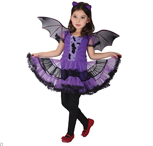 Halloween Costumes Ideas With Tutus (Kakawayi Girls Halloween Witch Dress Cosplay Costume Sets with Wing and Ear band)