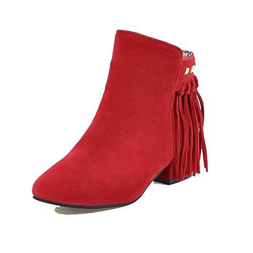 Allhqfashion Womens Low-top Solid Rits Vierkante Gesloten Neus Lage Hakken Laarzen Rood