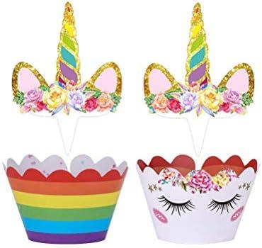 UPPERO Unicornio - Juego de 48 decoraciones para cupcakes y ...