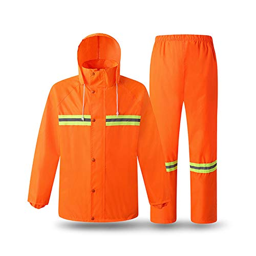 LYY High Visibility Reflective Raincoat Greening Construction Sanitation Fluorescent Rain Gear Traffic Car Waterproof Windproof Work Jacket Can Be Printed(Clothes + Pants),XL ()