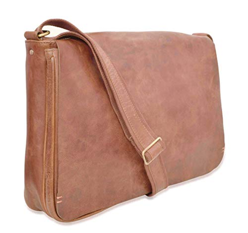 V-élan Men's Vintage Leather Messenger Bag with Laptop Sleeve 12H x 3.50D x 16W inches Cognac