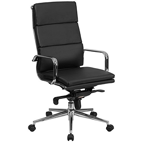 Flash Furniture High Back Black Leather Executive Swivel Chair with Synchro-Tilt Mechanism and Arms