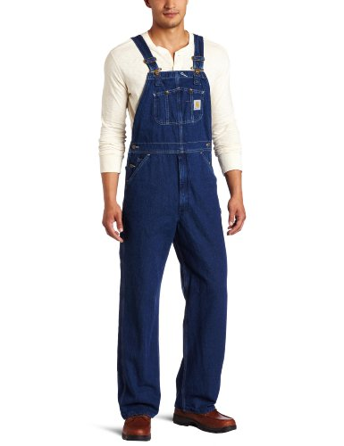 - Carhartt Men's Washed Denim Bib Overalls Unlined R07,Darkstone,34 x 34