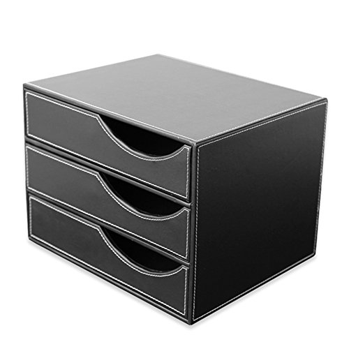 "KINGFOMâ""¢ Office Desk Decor PU Leather File Cabinet/Storage Box, 3 Drawer Wooden Structure Desk Filing Cabinet Organizer"