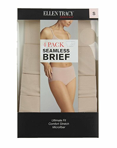 Ellen Tracy Essentials Womens Seamless Briefs 4-Pack Panties (Small, Ivory Tan)