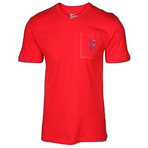 NIKE Men's Roger Federer Stealth Pocket V Neck T Shirt Red
