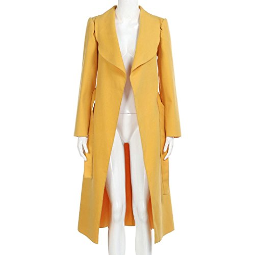 Largos K Chaquetas Outcoat Abrigos youth® Fiesta Elegantes De Rompevientos Bolsillos Amarillo Mujer Invierno rCCXnwqH