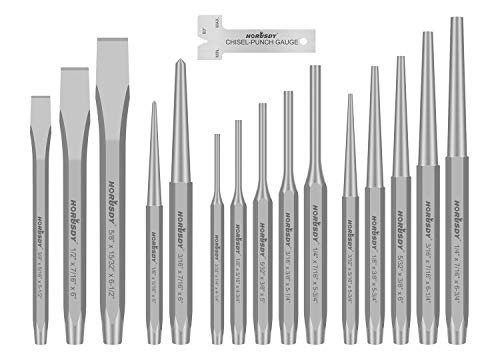 HORUSDY 16-Piece Punch and Chisel Set, Including Taper Punch, Cold Chisels, Pin Punch, Center Punch