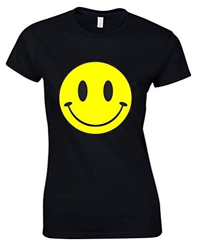 SMILEY Humour Noir T-Shirt à imprimé pour femme