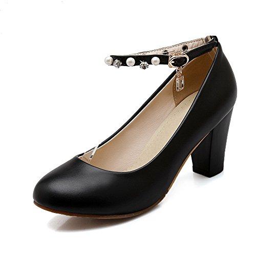 Allhqfashion Donna Fibbia Tacchi Alti Pu Tondi Tondi Scarpe Chiuse Pompe-scarpe Nere