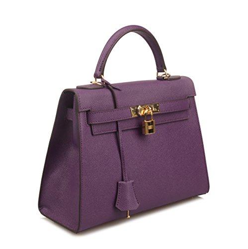 Ainifeel Purple Shoulder Padlock Satchel Purse Hobo Purse Handbags Women's Bag qrfzwEq