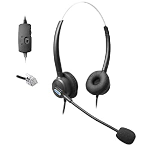 Comdio CH203VA6 Corded Call Center Phone Headset Headphones Ear Phone + Volume Mute Control for Polycom SoundPoint Phone Series 300 301 430 500 501 550 600 601 Lazerbuilt Orchid Packet8 IP Telephone