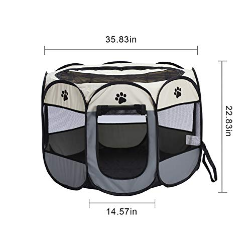 Portable Foldable Pet Dog Cat Playpen Crates Kennel Playpen Tent House Playground, Indoor and Outdoor Use, Gray and White (35.8X 22.8 inch)