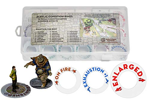 D&D Condition Rings - 78 PCS Status Effect Markers with 21 Unique Conditions and Storage Box - Great DM Tool for Dungeons & Dragons, Pathfinder Miniatures by Guilt-Free Gaming