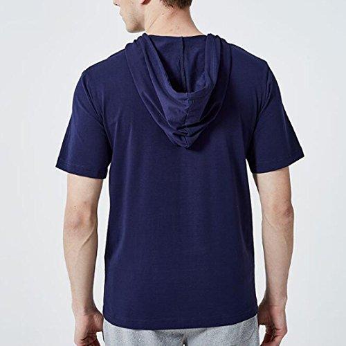 shirt corta deportivas manga T Verano Camisas Dailywear con Ai Azul Hombres capucha moichien de Casual wxqCCYgOv