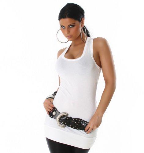 Neu Sexy Longtop Tanktop Top Shirt Einheitsgröße 32-38 Weiß