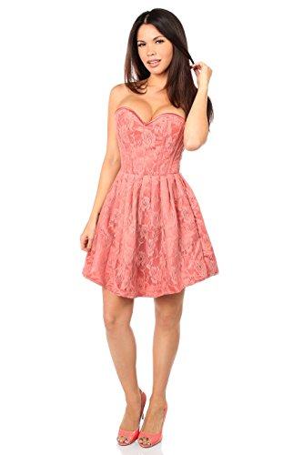 Daisy corsets Top Drawer Steel Boned Coral Lace Empire Waist Corset Dress by Daisy corsets