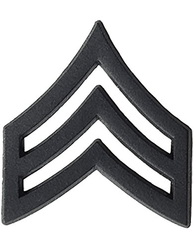 US Army Black Metal Pin-On Rank - Sergeant (Army Chevron)