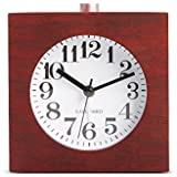 BELKA Clear Face Alarm Clock Mid-Century Wood Desk Decor Vintage Silent Square Walnut Alarm Clock Multifunction Clock with Nightlight Snooze Feature(Battery not included)